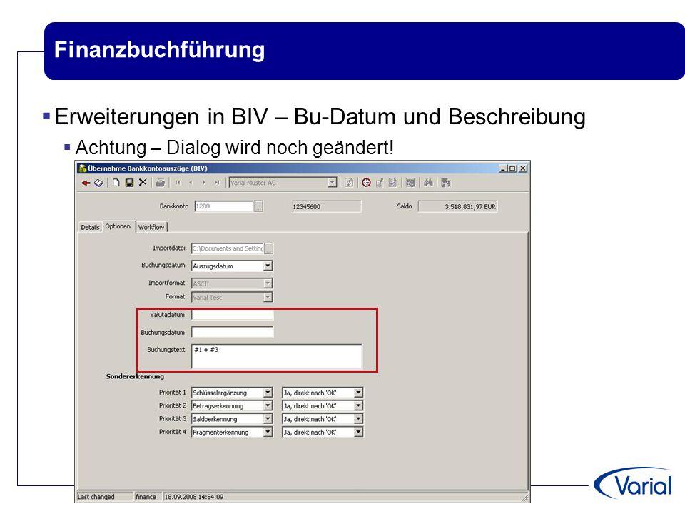 Erweiterungen in BIV – Bu-Datum und Beschreibung