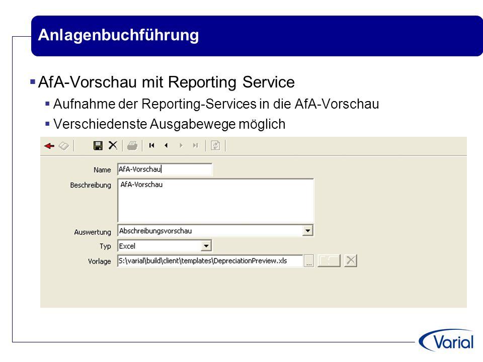 AfA-Vorschau mit Reporting Service