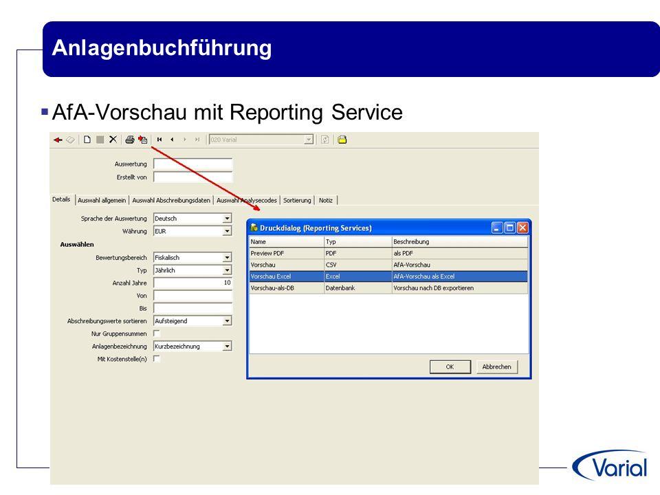 Anlagenbuchführung AfA-Vorschau mit Reporting Service