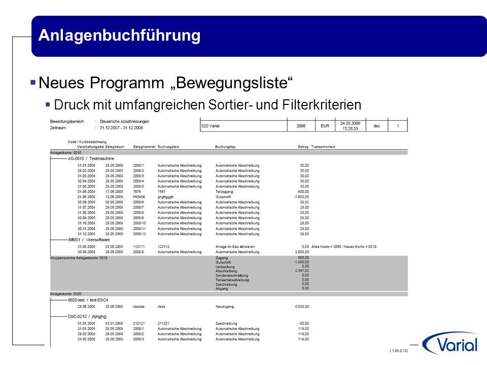 """Neues Programm """"Bewegungsliste"""