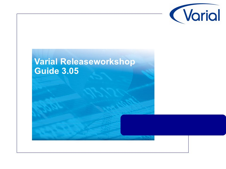 Varial Releaseworkshop Guide 3.05