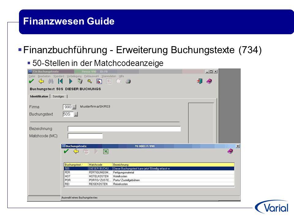 Finanzbuchführung - Erweiterung Buchungstexte (734)