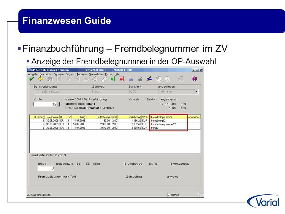 Finanzbuchführung – Fremdbelegnummer im ZV