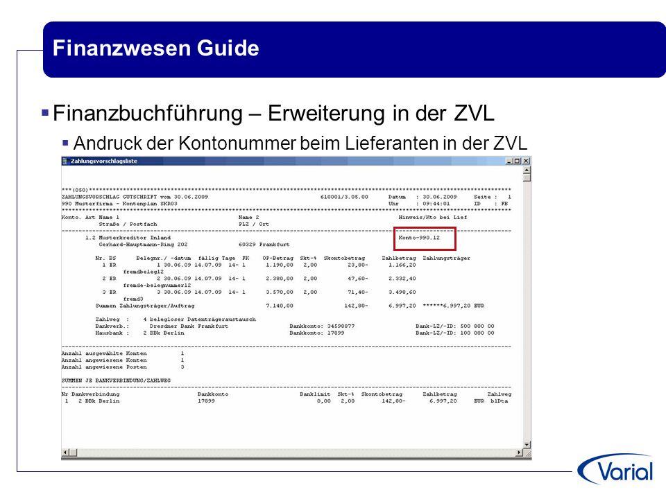 Finanzbuchführung – Erweiterung in der ZVL