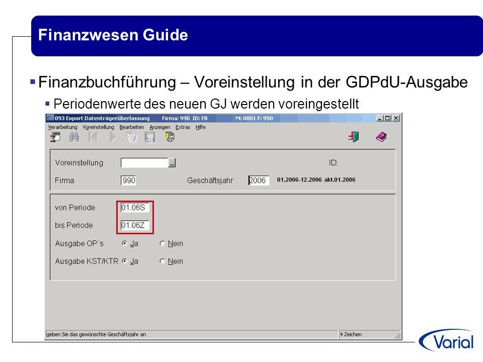 Finanzbuchführung – Voreinstellung in der GDPdU-Ausgabe