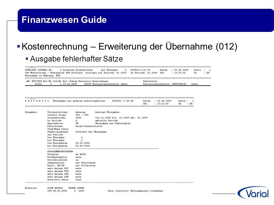 Kostenrechnung – Erweiterung der Übernahme (012)