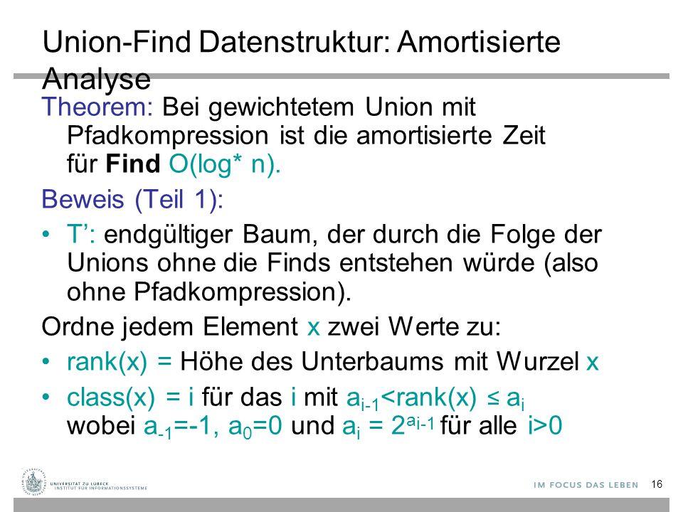 Union-Find Datenstruktur: Amortisierte Analyse