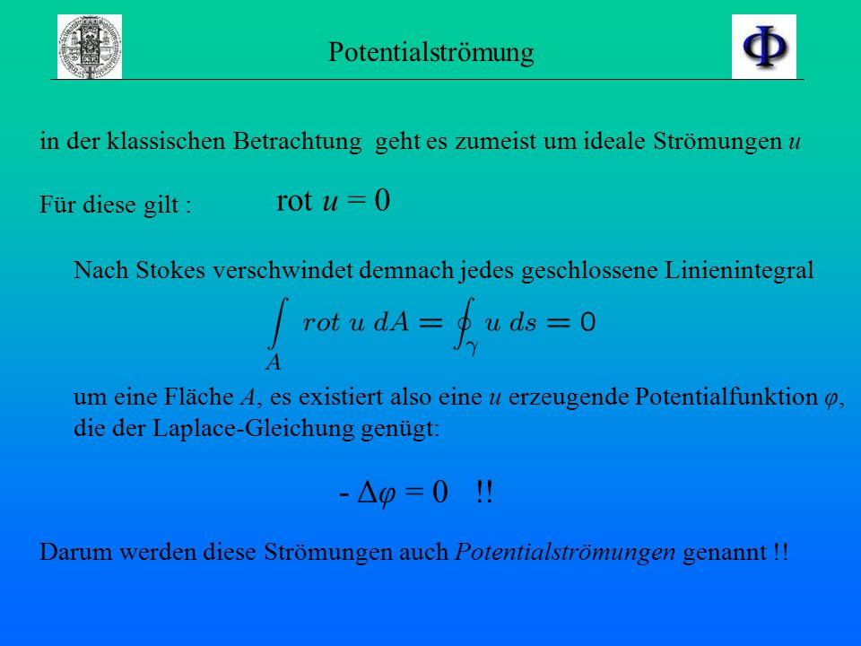 rot u = 0 - Δφ = 0 !! Potentialströmung