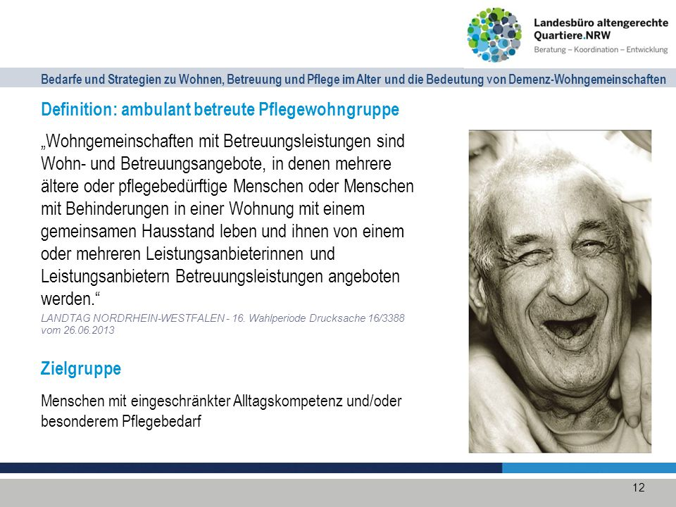Definition: ambulant betreute Pflegewohngruppe