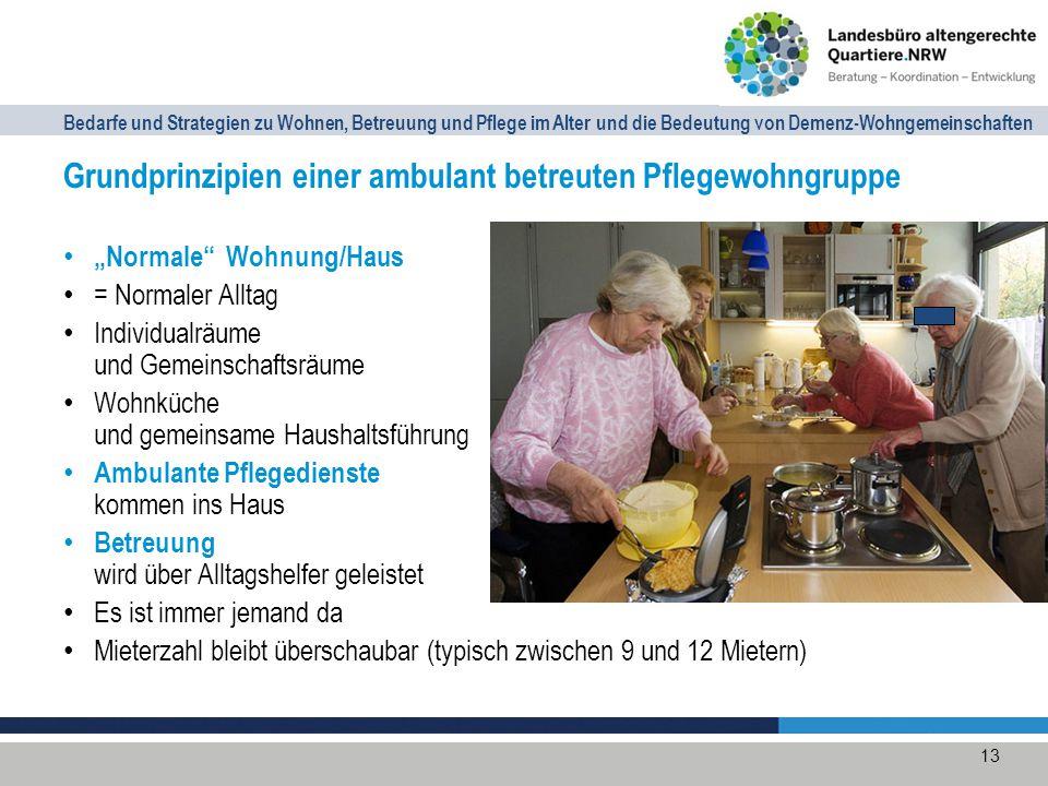 Grundprinzipien einer ambulant betreuten Pflegewohngruppe