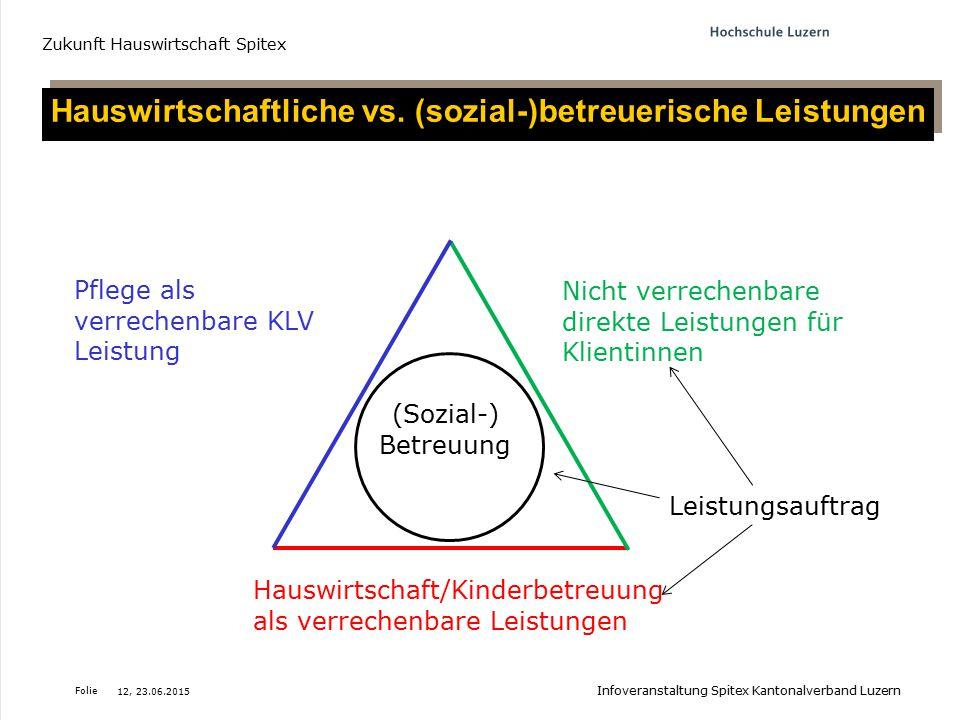 Hauswirtschaftliche vs. (sozial-)betreuerische Leistungen