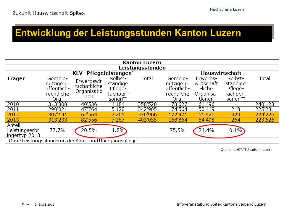 Entwicklung der Leistungsstunden Kanton Luzern