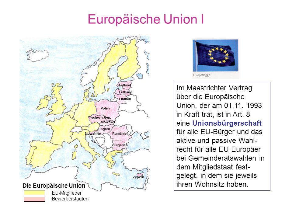 Europäische Union I Estland. Lettland. Litauen. Polen. Tschech.Rep. Slowakei. Ungarn. Rumänien.