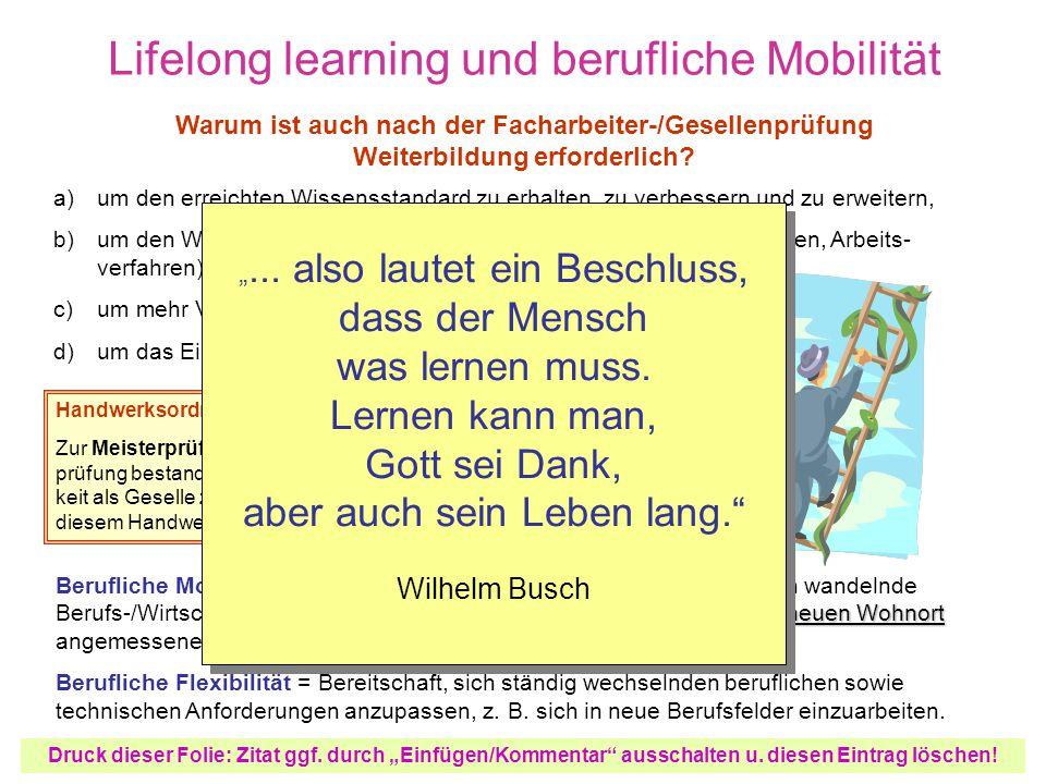 Lifelong learning und berufliche Mobilität
