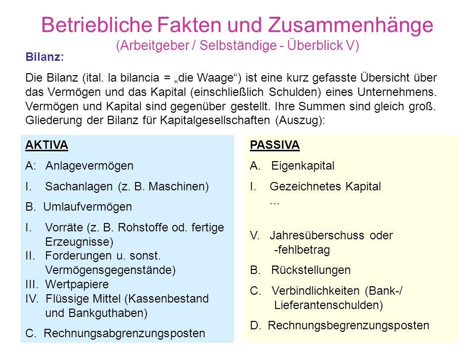 Betriebliche Fakten und Zusammenhänge (Arbeitgeber / Selbständige - Überblick V)