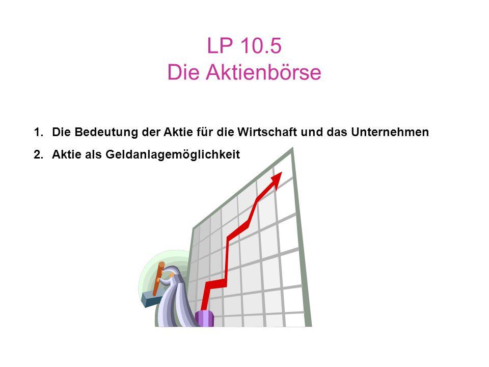 LP 10.5 Die Aktienbörse Die Bedeutung der Aktie für die Wirtschaft und das Unternehmen.