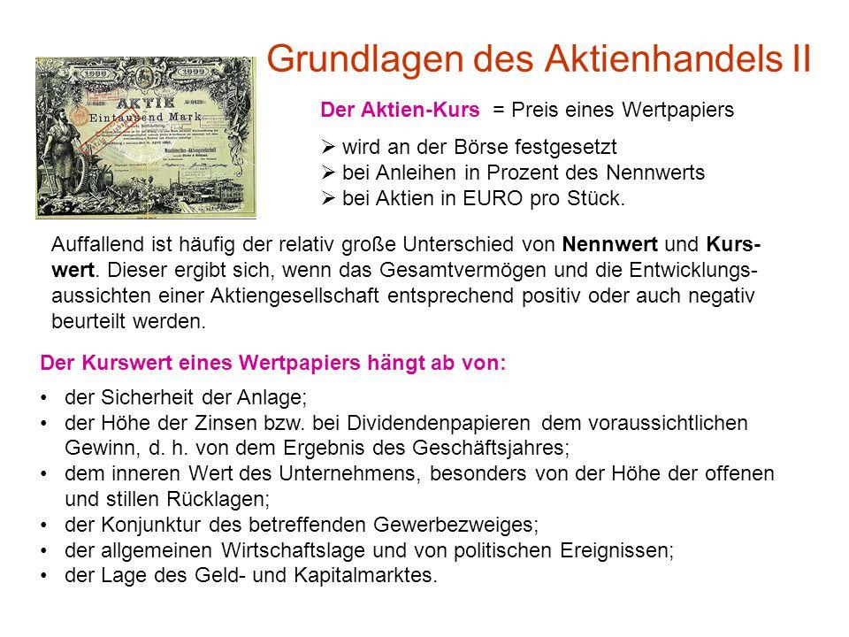 Grundlagen des Aktienhandels II