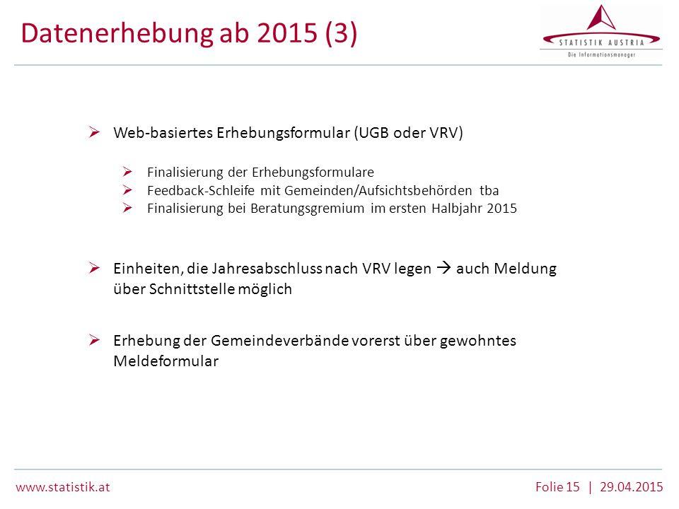 Datenerhebung ab 2015 (3) Web-basiertes Erhebungsformular (UGB oder VRV) Finalisierung der Erhebungsformulare.