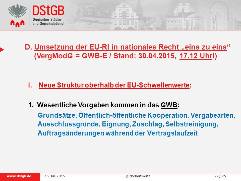 """D. Umsetzung der EU-Rl in nationales Recht """"eins zu eins"""