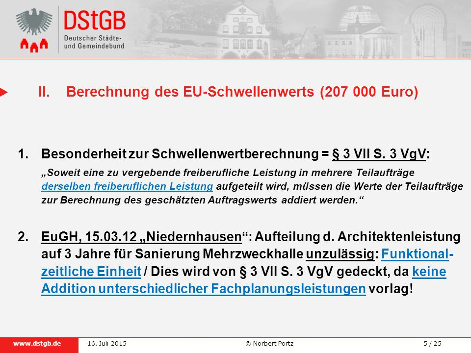 II. Berechnung des EU-Schwellenwerts (207 000 Euro)