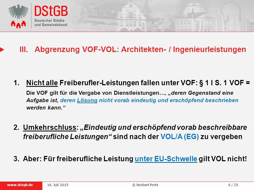 III. Abgrenzung VOF-VOL: Architekten- / Ingenieurleistungen