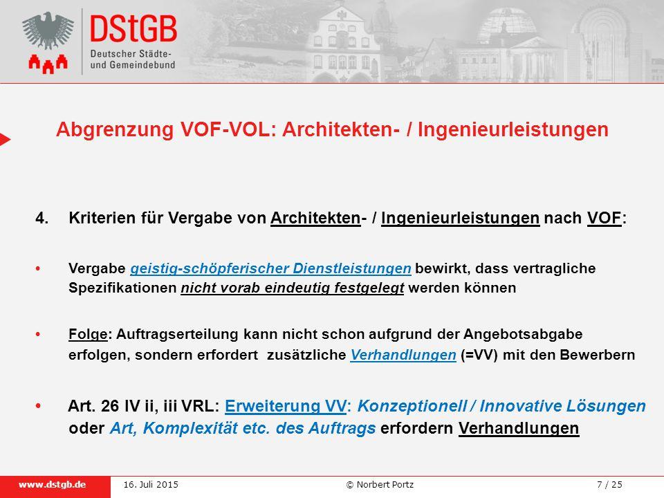 Abgrenzung VOF-VOL: Architekten- / Ingenieurleistungen