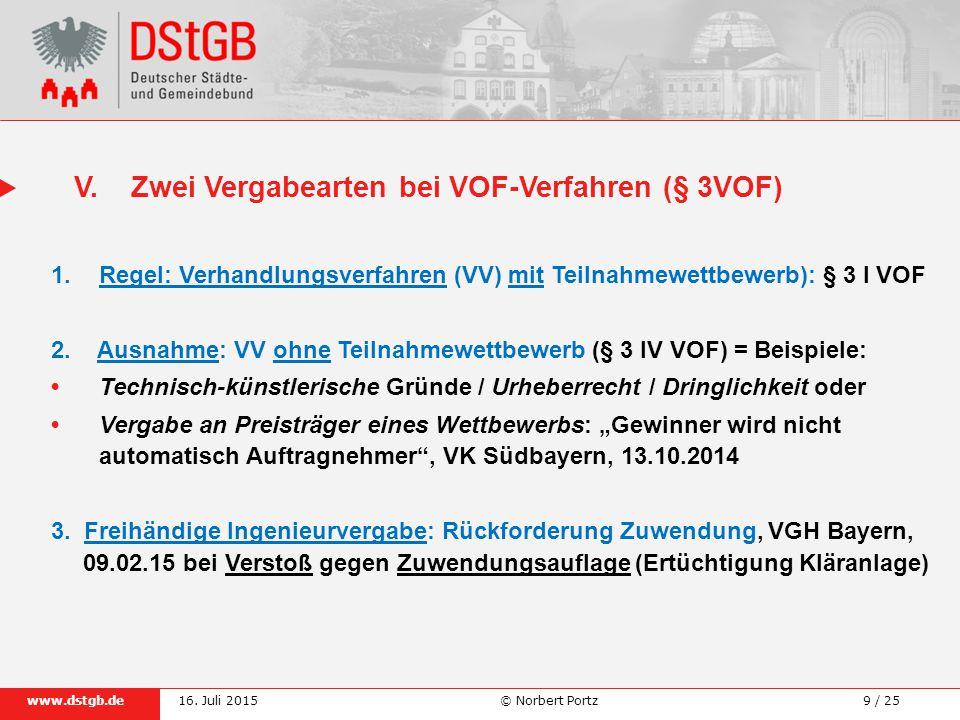 V. Zwei Vergabearten bei VOF-Verfahren (§ 3VOF)
