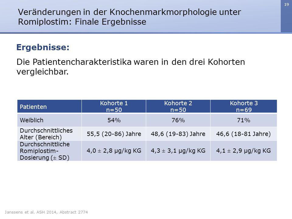 Die Patientencharakteristika waren in den drei Kohorten vergleichbar.