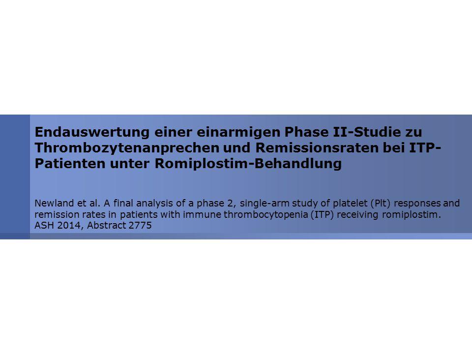 Endauswertung einer einarmigen Phase II-Studie zu Thrombozytenanprechen und Remissionsraten bei ITP-Patienten unter Romiplostim-Behandlung