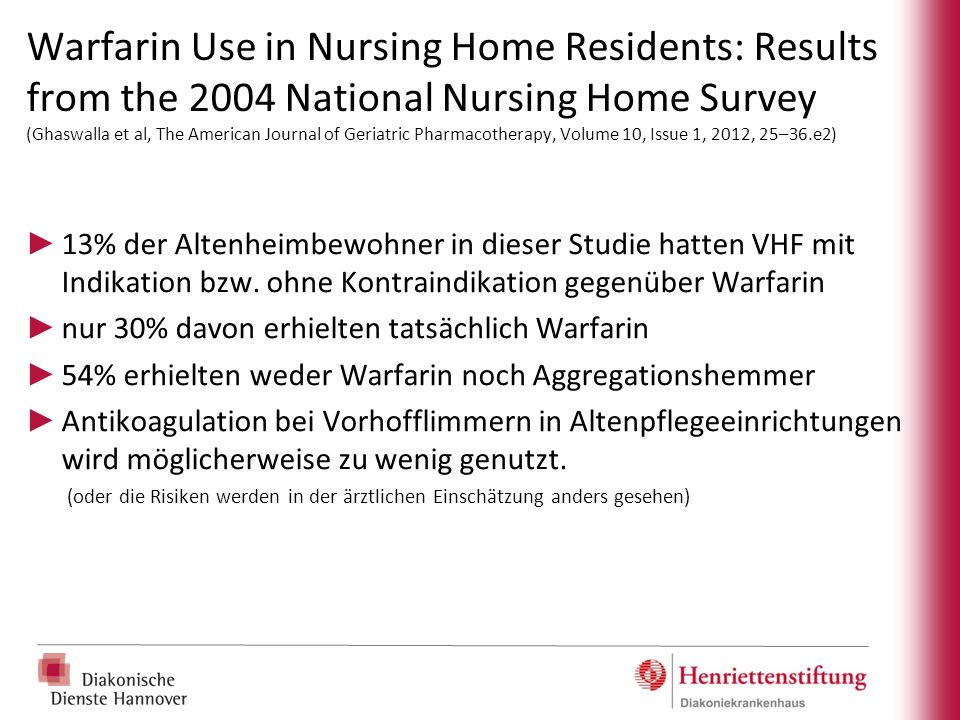 Warfarin Use in Nursing Home Residents: Results from the 2004 National Nursing Home Survey (Ghaswalla et al, The American Journal of Geriatric Pharmacotherapy, Volume 10, Issue 1, 2012, 25–36.e2)