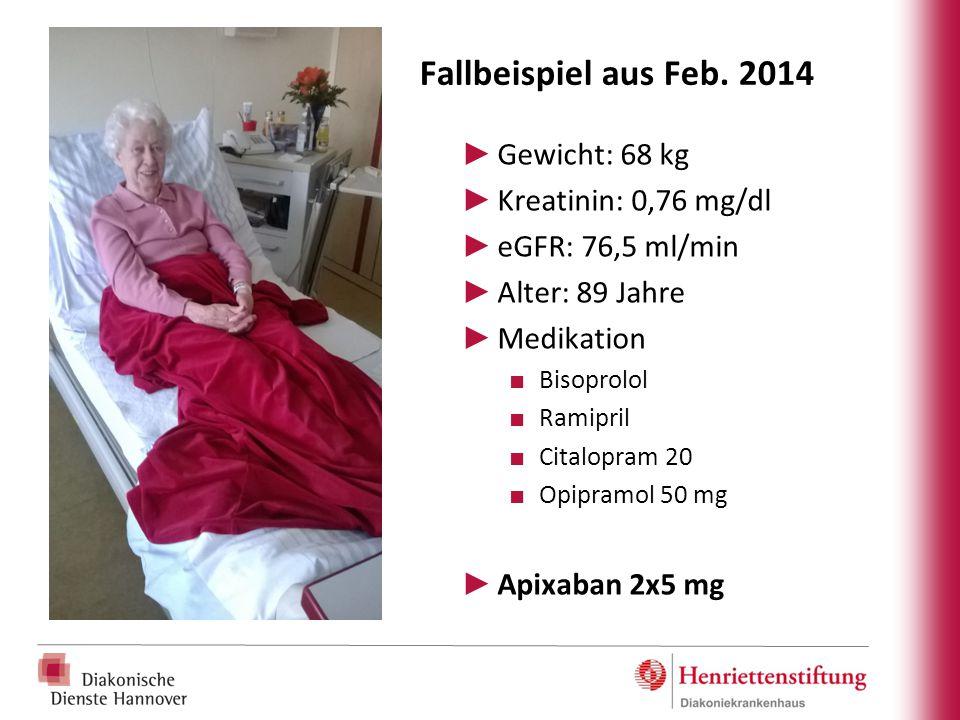 Fallbeispiel aus Feb. 2014 Gewicht: 68 kg Kreatinin: 0,76 mg/dl