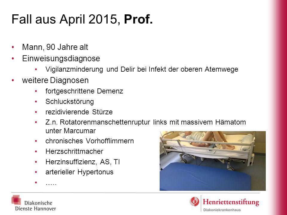 Fall aus April 2015, Prof. Mann, 90 Jahre alt Einweisungsdiagnose