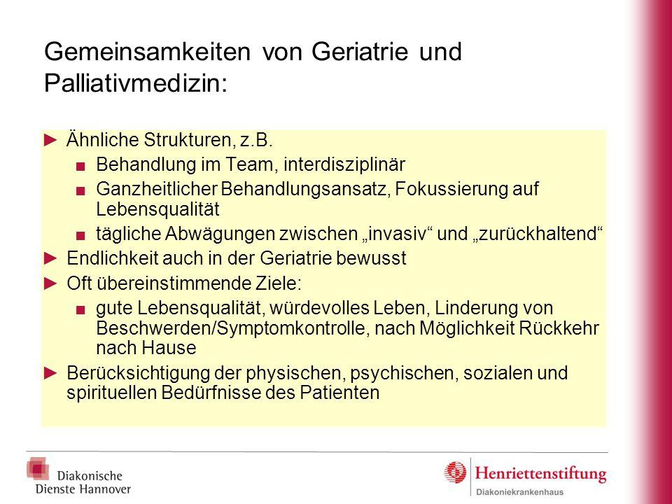 Gemeinsamkeiten von Geriatrie und Palliativmedizin: