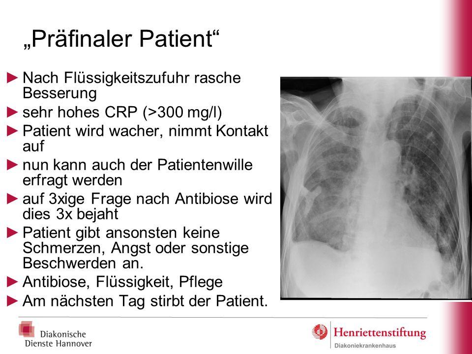 """""""Präfinaler Patient Nach Flüssigkeitszufuhr rasche Besserung"""