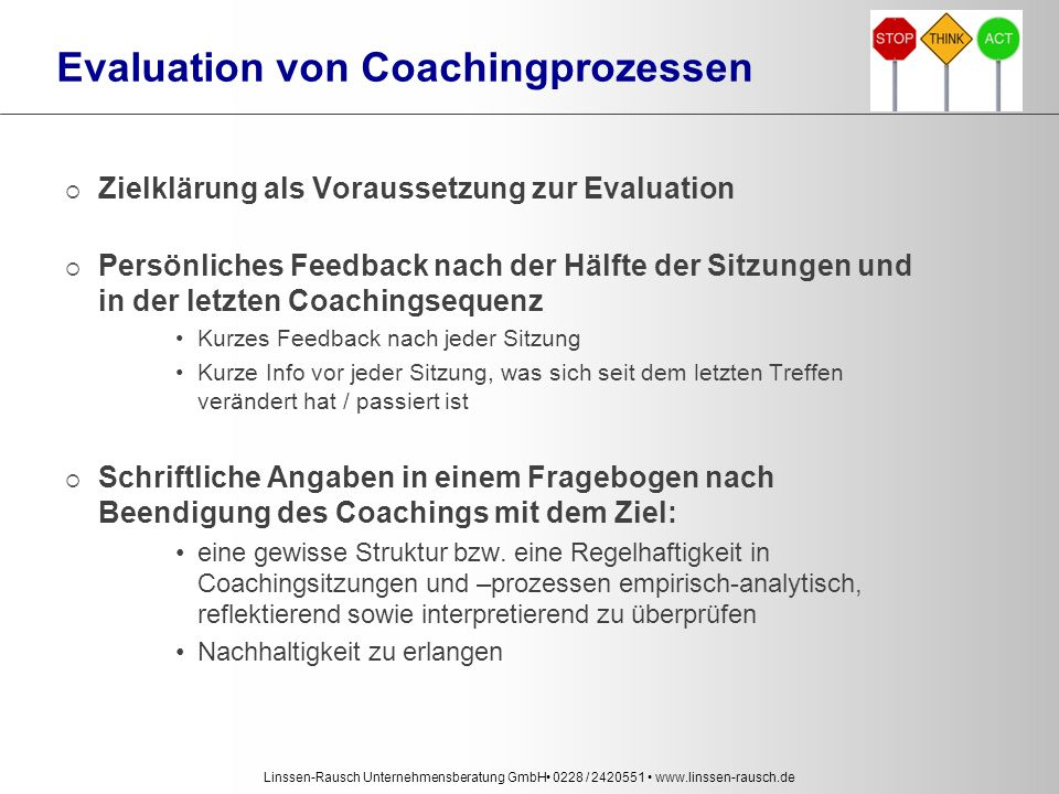 Evaluation von Coachingprozessen