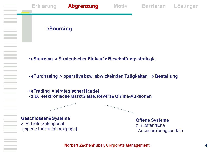 Erklärung Abgrenzung Barrieren Lösungen Motiv eSourcing