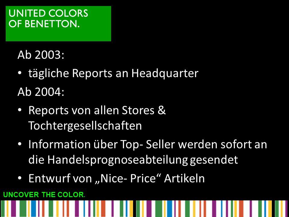 Ab 2003: tägliche Reports an Headquarter. Ab 2004: Reports von allen Stores & Tochtergesellschaften.