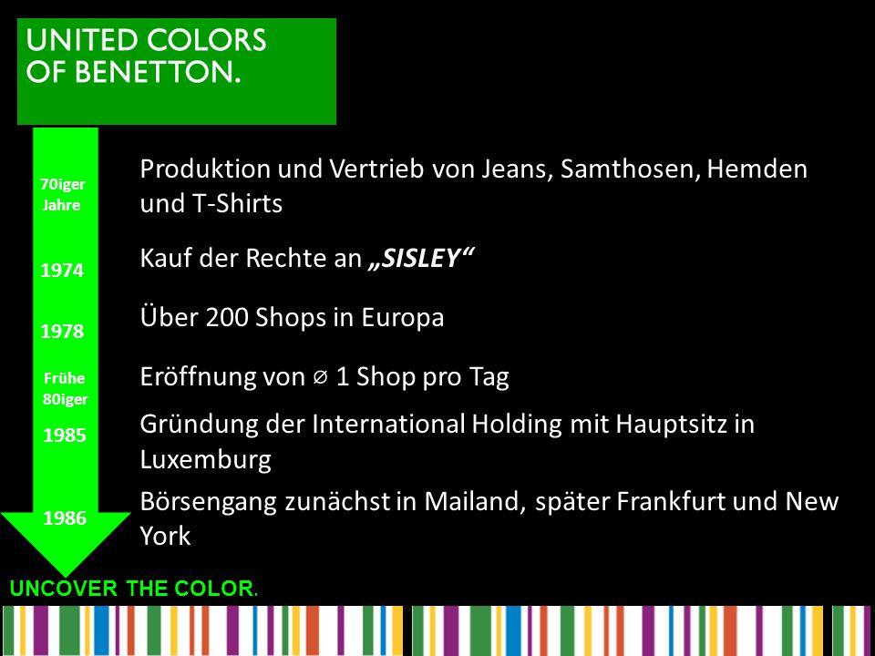 """Produktion und Vertrieb von Jeans, Samthosen, Hemden und T-Shirts Kauf der Rechte an """"SISLEY Über 200 Shops in Europa Eröffnung von ⌀ 1 Shop pro Tag Gründung der International Holding mit Hauptsitz in Luxemburg Börsengang zunächst in Mailand, später Frankfurt und New York"""