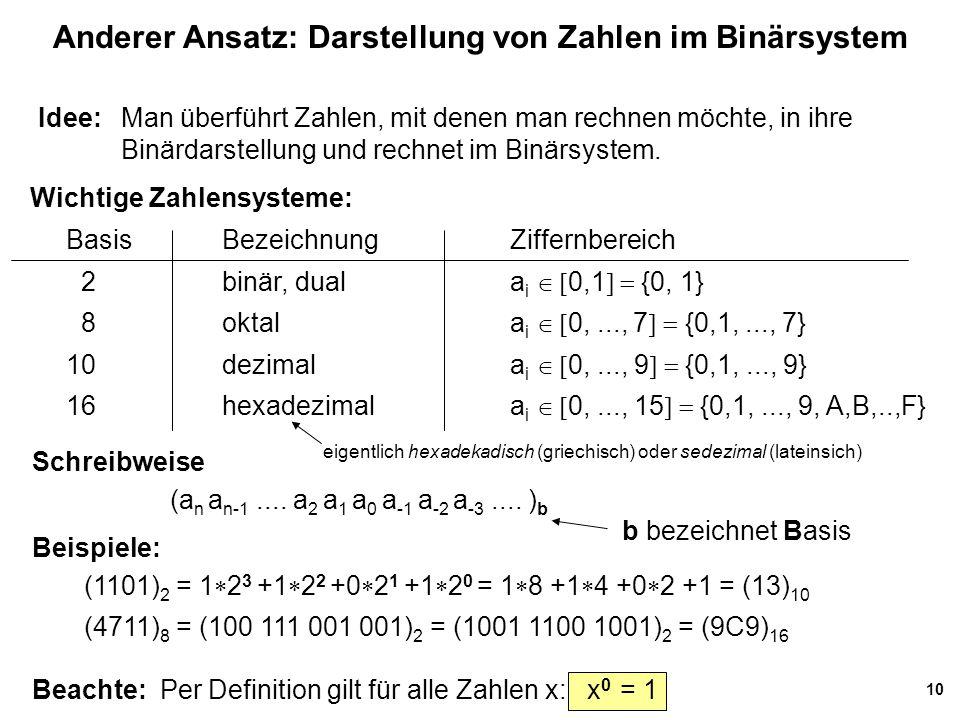 Anderer Ansatz: Darstellung von Zahlen im Binärsystem