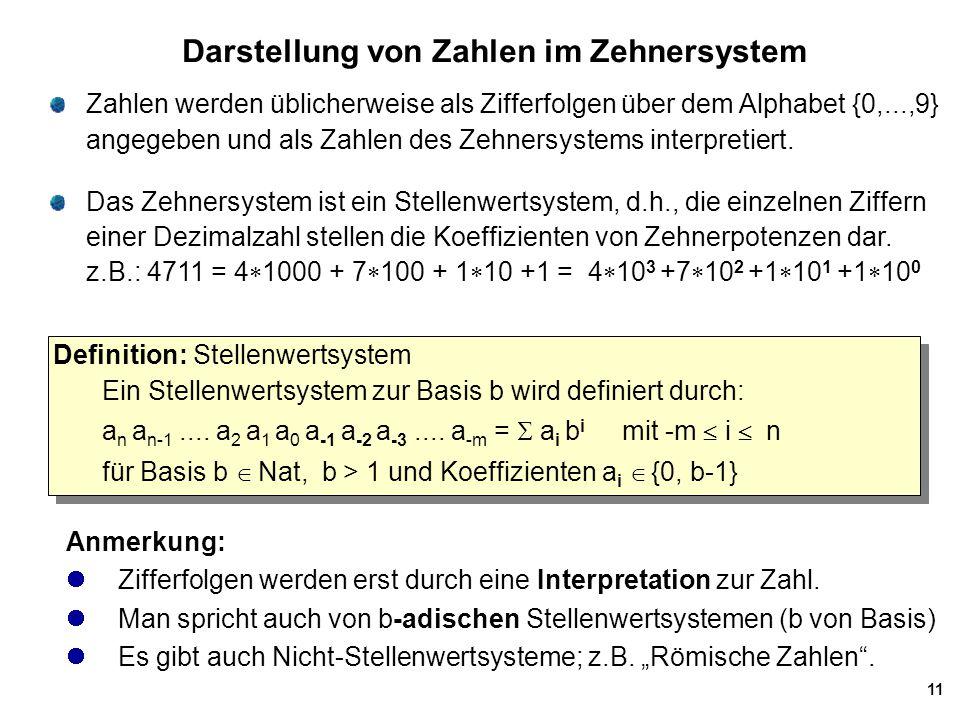 Darstellung von Zahlen im Zehnersystem
