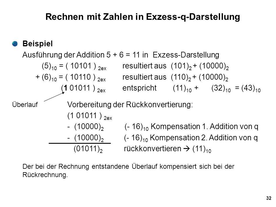 Rechnen mit Zahlen in Exzess-q-Darstellung