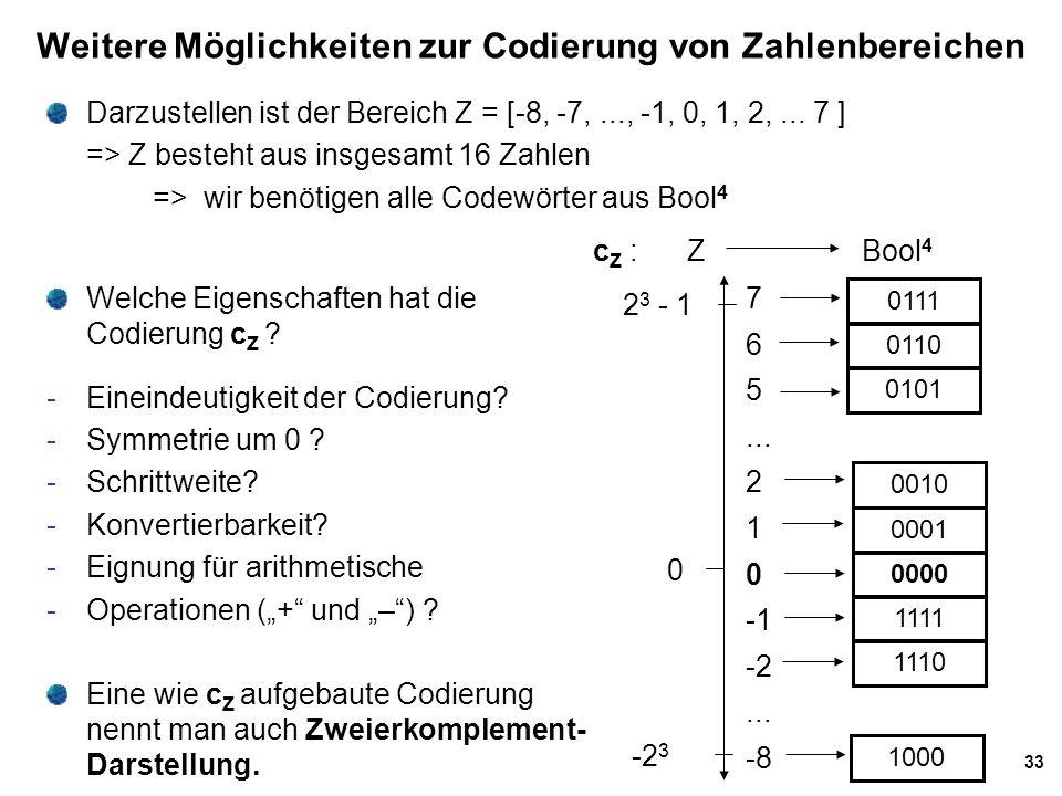 Weitere Möglichkeiten zur Codierung von Zahlenbereichen