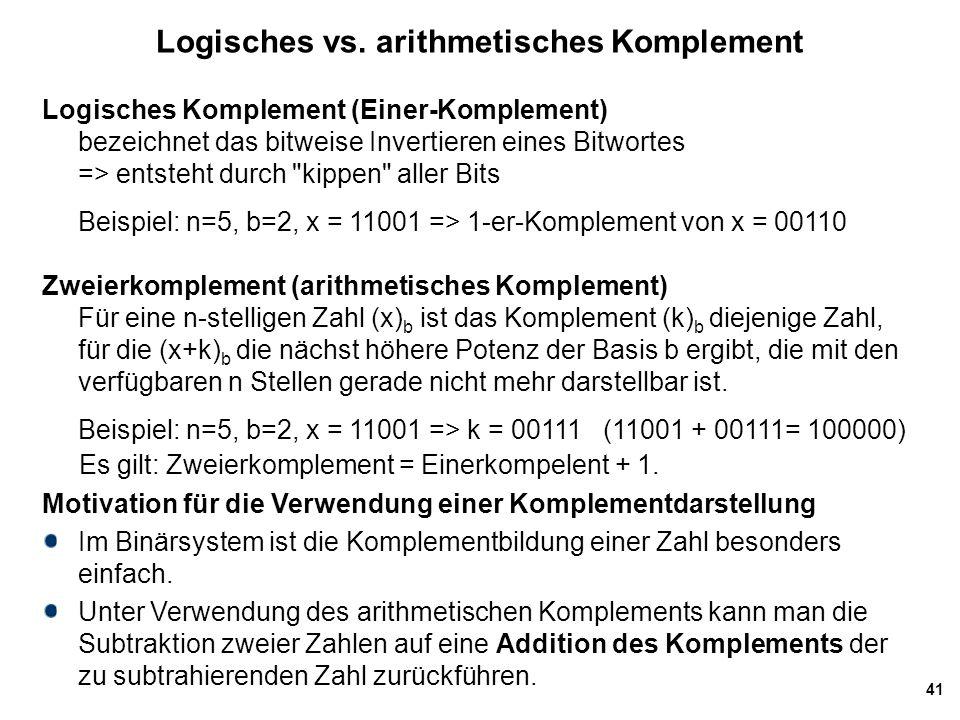 Logisches vs. arithmetisches Komplement