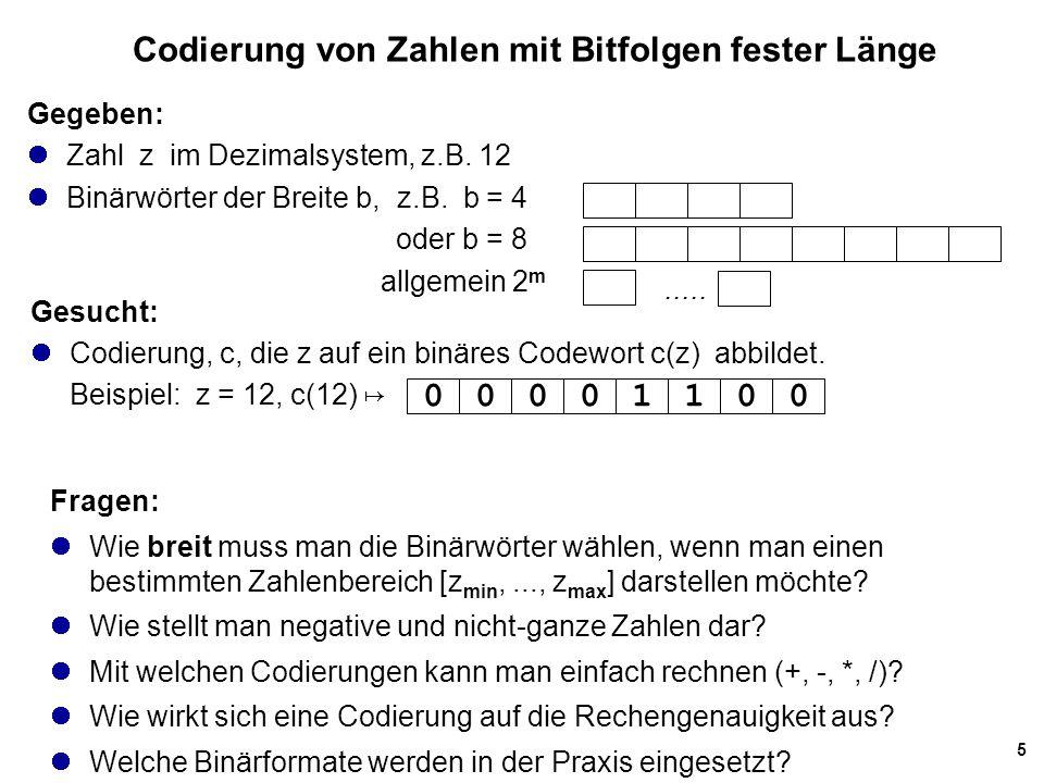 Codierung von Zahlen mit Bitfolgen fester Länge