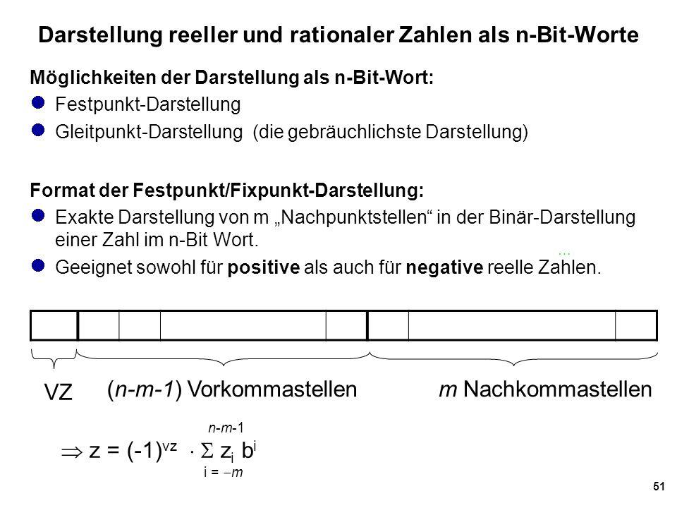 Darstellung reeller und rationaler Zahlen als n-Bit-Worte