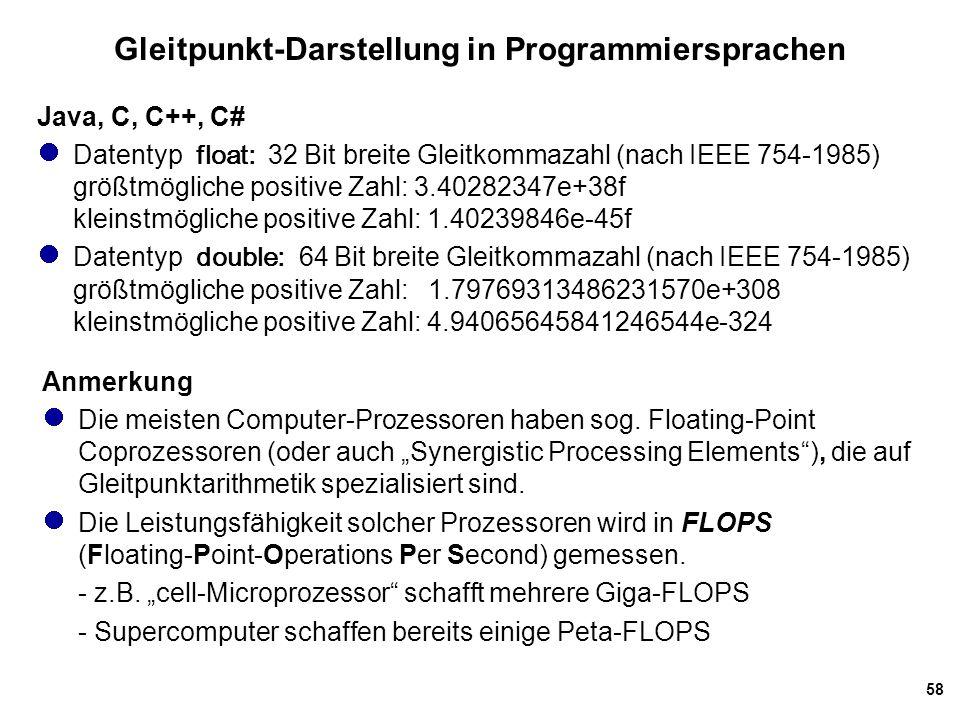 Gleitpunkt-Darstellung in Programmiersprachen