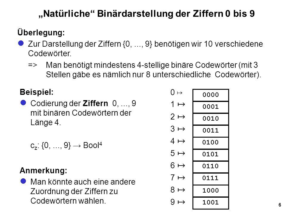 """""""Natürliche Binärdarstellung der Ziffern 0 bis 9"""