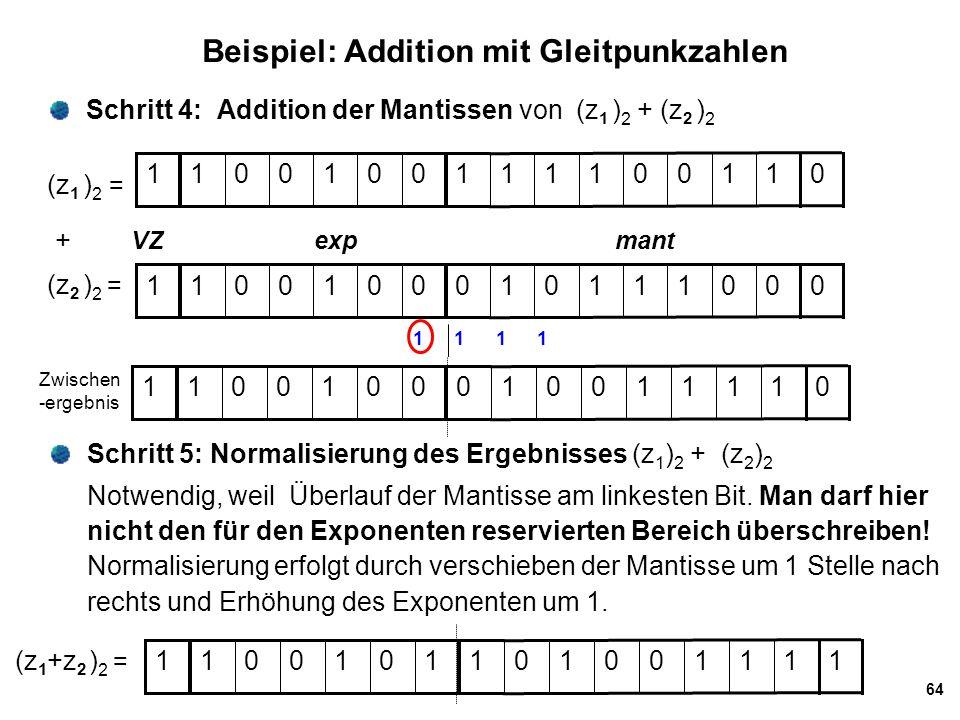 Beispiel: Addition mit Gleitpunkzahlen