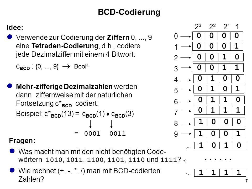 BCD-Codierung Idee: Verwende zur Codierung der Ziffern 0, ..., 9 eine Tetraden-Codierung, d.h., codiere jede Dezimalziffer mit einem 4 Bitwort: