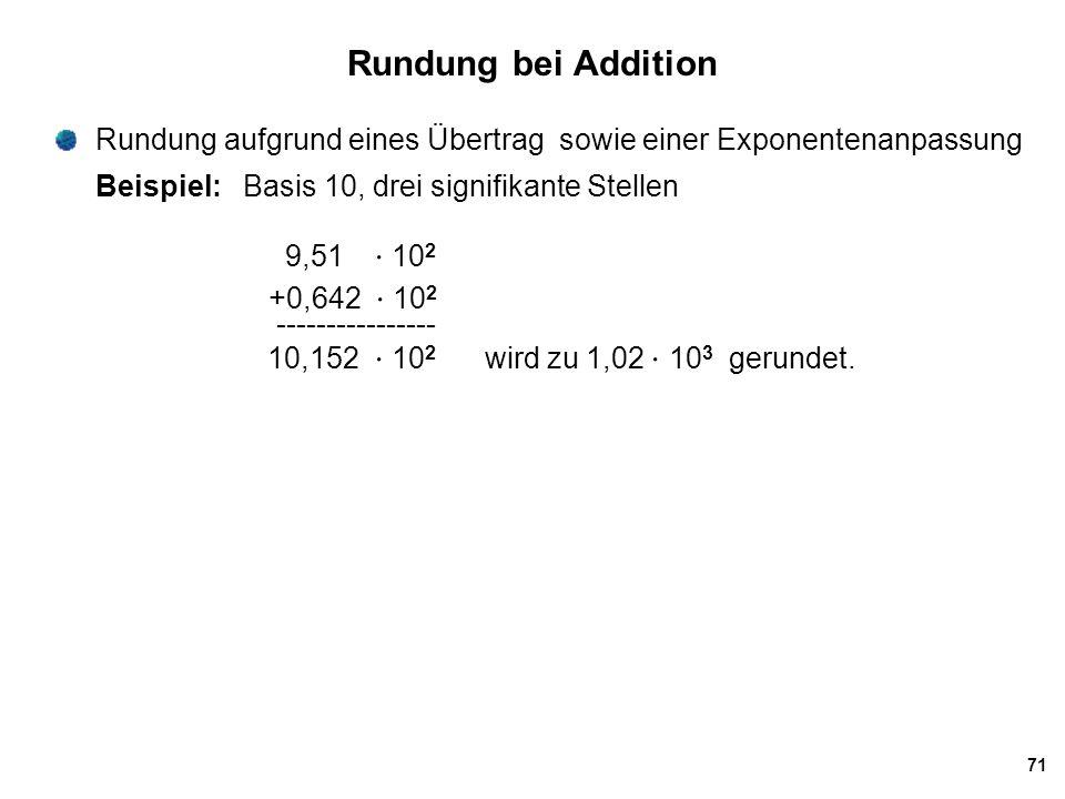 Rundung bei Addition Rundung aufgrund eines Übertrag sowie einer Exponentenanpassung. Beispiel: Basis 10, drei signifikante Stellen.